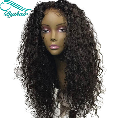 Bythairshop Curly Deep Parting 13x6 Lace Front Human Hair Wigs Brazilian Virgin Human Hair Full Lace Wig With Baby Hairs