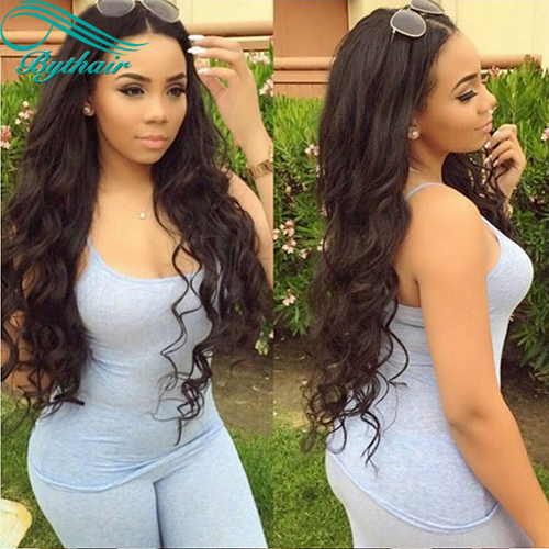 Bythairshop 360 Lace Wig Wavy Human Hair Wig Natural Wave Brazilian Virgin Hair Pre Plucked Hairline With Baby Hairs