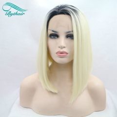 Bythairshop Blonde Bob Hair Wig Ombre Synthetic Lace Front Wigs Heat Resistant Fiber With Dark Roots For Women