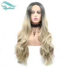 Bythairshop Ombre Blonde Wigs Brown Roots Long Wavy Wigs Synthetic Lace Front Wigs For Women High Density Heat Resistant Fiber Hair
