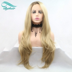 Bythairshop Ombre Blonde Wigs Brown Synthetic Lace Front Wigs For Women Side Parting Natural Wave Hair Heat Resistant Fiber Hair Wigs