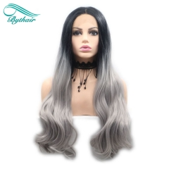 Bythairshop Long Body Wave Hair Black To Grey Ombre Wigs Synthetic Lace Front Wigs Heat Resistant Fiber Long Wavy Wig Middle Parting