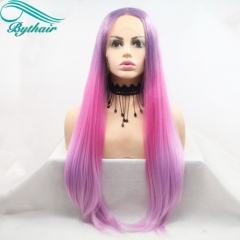 Bythairshop Ombre Purple Wigs Pink Synthetic Lace Front Wigs For Women Heat Resistant Natural Straight Wigs Middle Part Long Hair Wig