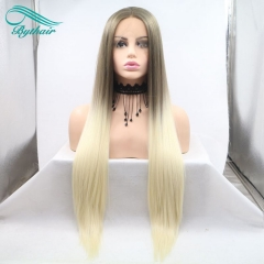 Bythairshop Brown To Blonde Two Tones Ombre Silky Straight Wigs Synthetic Lace Front Wigs For Women Heat Resistant Long Hair Wigs