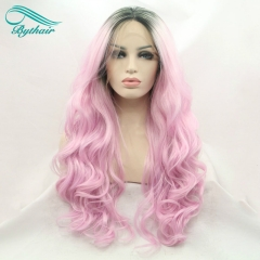 Bythairshop Ombre Pink Wig With Dark Roots Synthetic Lace Front Wigs Heat Resistant Fiber Body Wave Hair For Women