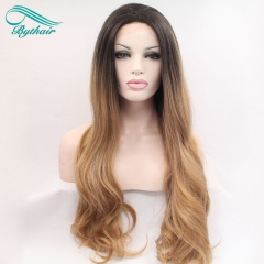 Bythairshop Ombre Brown Synthetic lace Front Wigs Long Body Wave Hair Heat Resistant Fiber Wig For Women Soft Lace