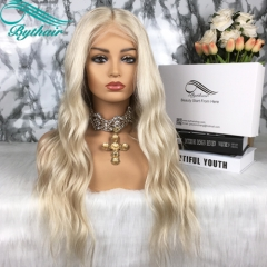 Bythairshop 100% Virgin Human Hair #60 Blonde Color Wavy Full Lace Wigs Vrigin Brazilian Hair Blonde Lace Front Wig With Baby Hairs