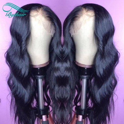 Bythairshop 360 Lace Wig Wavy Body Wave Human Hair Wig Natural Wave Brazilian Virgin Hair Pre Plucked Hairline With Baby Hairs