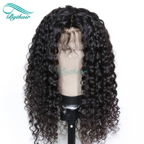Bythairshop 360 Lace Wig Deep Curly Bleached Knots Brazilian Virgin Human Hair Wig 150% Density Pre Plucked Hairline With Baby Hairs