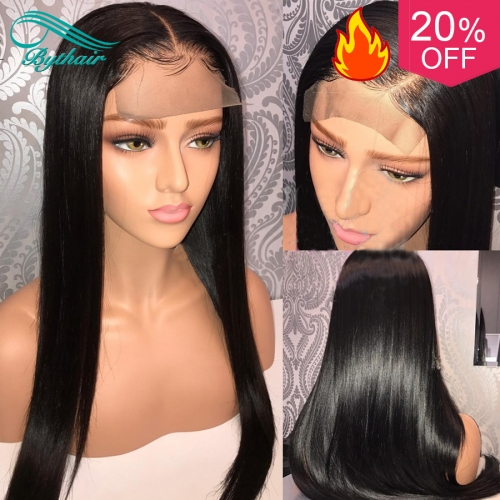 Bythairshop High Density Silky Straight Glueless Full Lace Human Hair Wigs With Baby Hair Natural Color Virgin Hair Lace Front Wig for Black Women