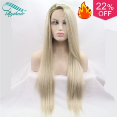 Bythairshop Heat Resistant Hair Ombre Blonde Synthetic Lace Front Wig For Women Side Part Long Silky Straight Lace Wig Half Hand Tied