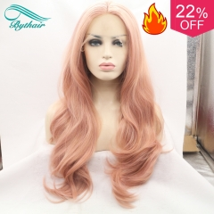 Bythairshop Heat Resistant Fiber Glueless Natural Hairline Body Wave Hair Fully Wigs For Women Mixed Pink Synthetic Lace Front Wig