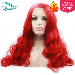 Bythairshop Long Body Wave Amaranth Red Synthetic Lace Front Wig Half Hand Tied Bouncy Rose Red Heat Resistant Fiber Hair For Women