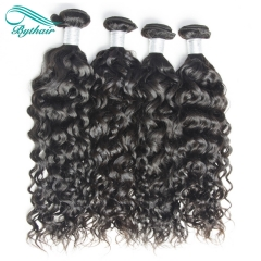 Bythairshop Brazilian Water Wave 3 Pieces 100% Human Hair Weave Bundles Non Remy Hair Extensions Double Strong Weft Natural Black