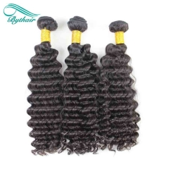 Bythairshop Brazilian Deep Wave 3 Pieces 100% Human Hair Weave Bundles Non Remy Hair Extensions Double Strong Weft Natural Black