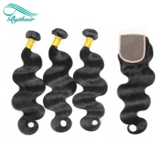 Bythairshop Human Hair Weaves Bundles With Closure Unprocessed Brazillian Peruvian Indian Malaysian Virgin Human Hair Body Wave Hair Extensions