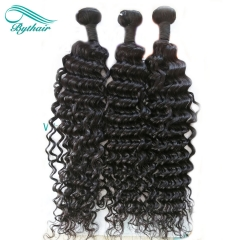 Bythairshop Brazilian Water Wave 3 Pieces 100% Human Hair Weave Bundles Remy Hair Extensions Double Strong Weft Natural Black
