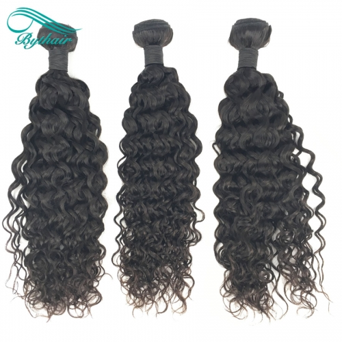 Bythairshop Deep Curly 3 Pieces 100% Human Hair Weave Bundles Non Remy Hair Extensions Double Strong Weft Natural Black