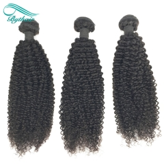 Bythairshop Brazilian Kinky Curly 3 Pieces 100% Human Hair Weave Bundles Remy Hair Extensions Double Strong Weft Natural Black