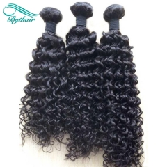 Bythairshop Brazilian Deep Curly 3 Pieces 100% Human Hair Weave Bundles Non Remy Hair Extensions Double Strong Weft Natural Black