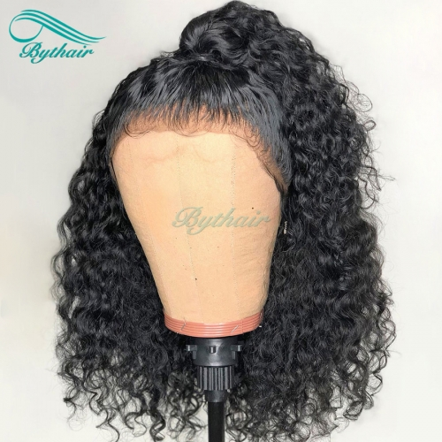 Bythairshop Deep Curly 360 Lace Wig Curly Bleached Knots Malaysian Virgin Human Hair Wig 150% Density Pre Plucked Hairline With Baby Hairs