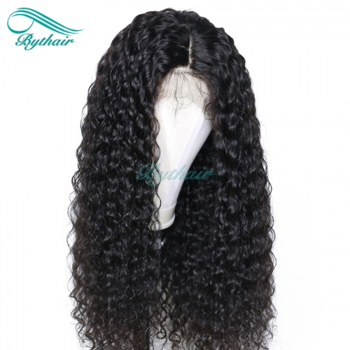 Bythairshop 360 Lace Wig Curly Bleached Knots Brazilian Virgin Human Hair Wig 150% Density Pre Plucked Hairline With Baby Hairs