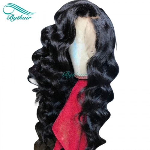 Bythairshop Natural Wave 13x6 Deep Part Lace Front Wig Pre Plucked Hairline Brazilian Virgin Human Hair Full Lace Wig 130% Density With Baby Hairs