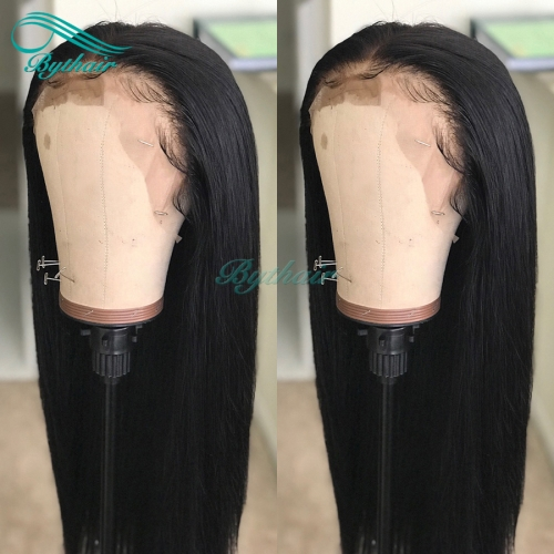 Bythairshop Silky Straight 360 Lace Wig Human Hair Wig Malaysian Virgin Hair Pre Plucked Hairline With Baby Hairs Bleached Knots