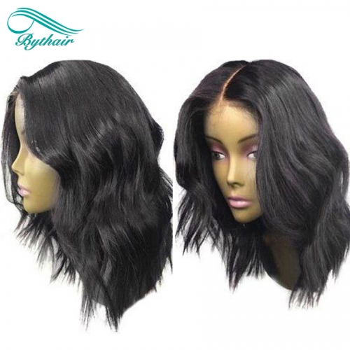 Bythairshop 360 Lace Wig Natural Wave Wig Pre Plucked Hairline Brazilian Virgin Human Hair Wavy Bleached Knots 150% Density With Baby Hair
