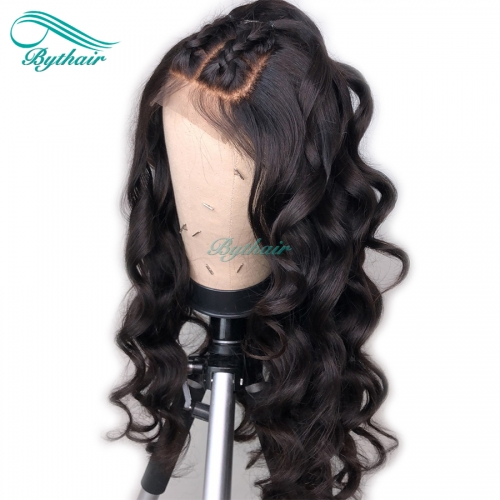Bythairshop Natural Wave 360 Lace Wig Wavy Pre Plucked Hairline Malaysian Virgin Human Hair Bleached Knots 150% Density With Baby Hair