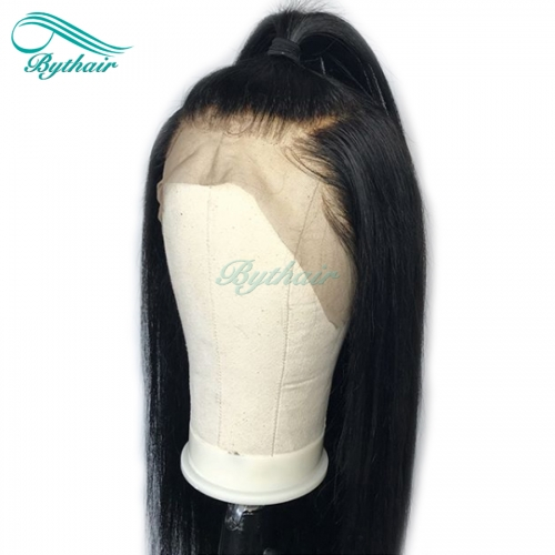Bythairshop Silky Straight 13x6 Deep Parting Lace Front Human Hair Wig Pre Plucked Bleached Knots Malaysian Virgin Hair Full Lace Wig With Baby Hairs