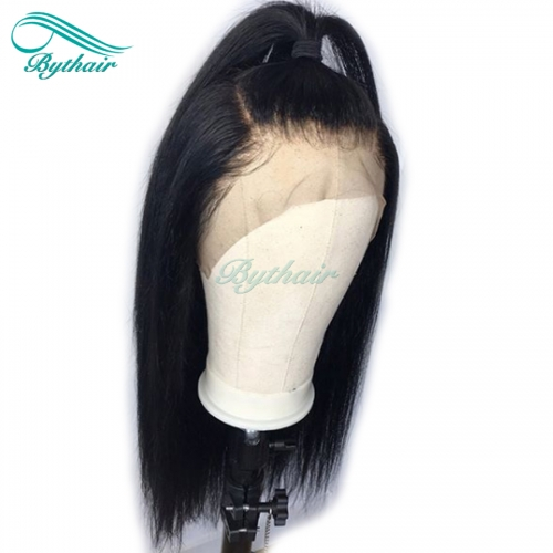 Bythairshop 360 Lace Wig Silky Straight Brazilian Virgin Human Hair Pre Plucked Hairline Bleached Knots 130% Density With Baby Hairs