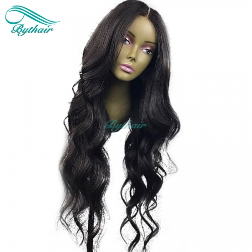Bythairshop Natural Wave 360 Lace Wig Wavy Pre Plucked Hairline Brazilian Virgin Human Hair Bleached Knots 130% Density With Baby Hair