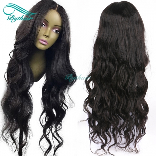 Bythairshop Wavy 13x6 Deep Part Lace Front Wig Natural Wave Pre Plucked Hairline Brazilian Virgin Human Hair Full Lace Wig 130% Density With Baby Hair
