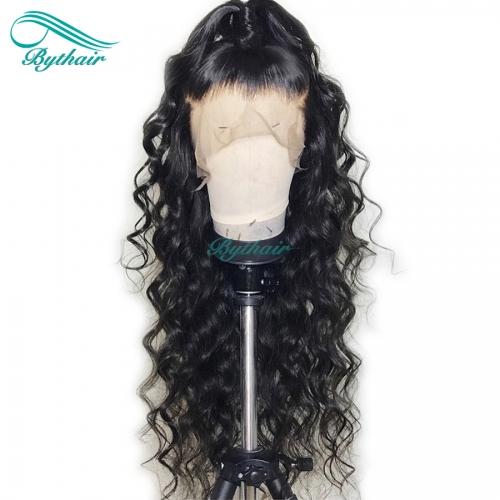 Bythairshop 360 Lace Wig Big Curly Pre Plucked Hairline Brazilian Virgin Human Hair 130% Density Bleached Knots With Baby Hair