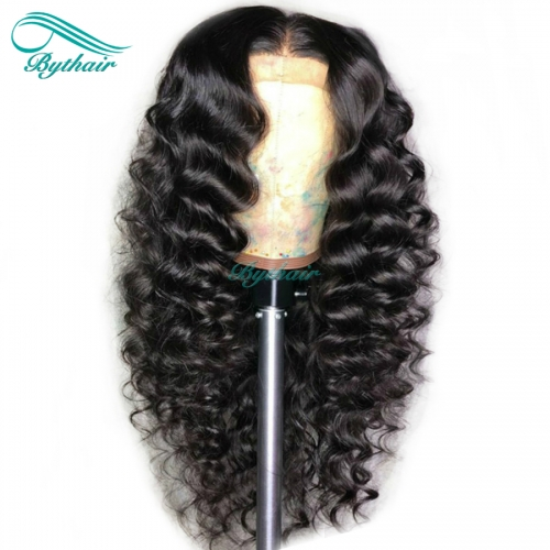 Bythairshop 360 Lace Wig Big Curly Human Hair Wig Pre Plucked Hairline Malaysian Virgin Hair Curly 150% Density Bleached Knots With Baby Hair