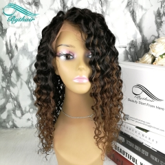 Bythairshop new arrival 150% density two tone ombre color human hair wig 100% virgin human hair lace front wig brazilian full lace wig