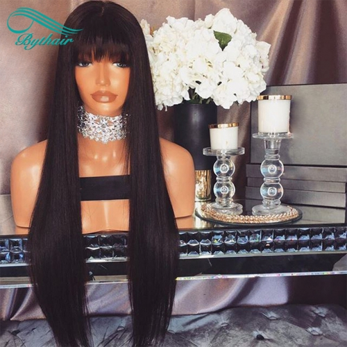 Bythairshop Silky Straight Human Hair Lace Wig With Bangs Virgin Brazilian Full Lace Wig  Glueless Bleached Knots Lace Front Wigs