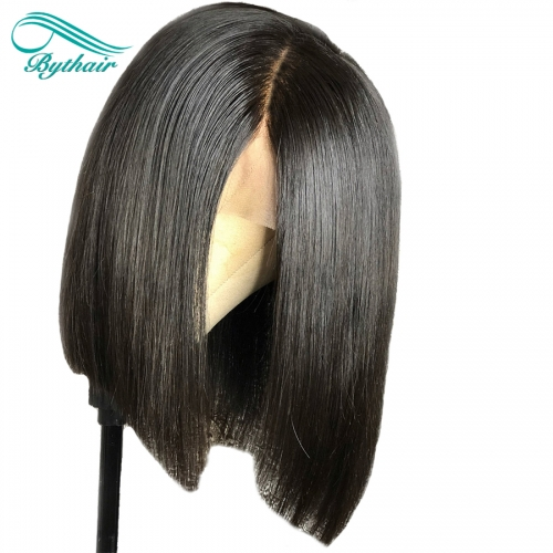 Bythairshop Full Lace Human Hair Wig Short Bob Wig Pre Plucked Hairline Bleached Knots Brazilian Virgin Hair Lace Front Wig With Baby Hair