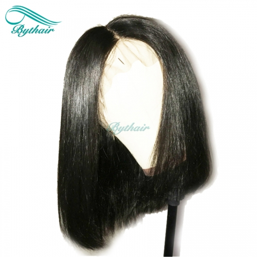Bythairshop Human Hair Bob Wig 360 Lace Wig Brazilian Virgin Hair Bleached Knots Pre Plucked Hairline With Baby Hairs Glueless