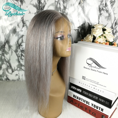 Bythairshop Human Hair Full Lace Wig Pure Grey Color Silky Straight Pre Plucked Hairline 150% Density Lace Front Wig With Baby Hair