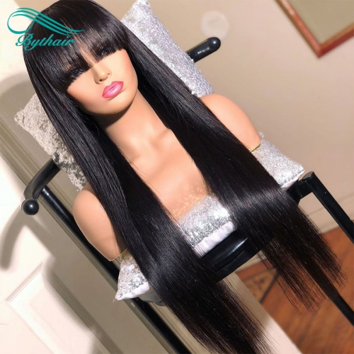 Bythairshop Silky Straight Human Hair Lace Front Wig With Bangs Virgin Brazilian Pre Plucked Natural Hairline Full Lace Wig Glueless Bleached Knots