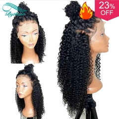 Bythairshop High Density Deep Curly Glueless Full Lace Human Hair Wigs With Baby Hair Natural Color Virgin Hair Lace Front Wig for Black Women