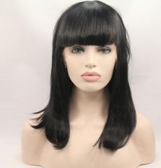 Bythairshop Heat Resistant Fiber Glueless Natural Hairline Short Bob Straight Wigs With Bangs / Without the bangs
