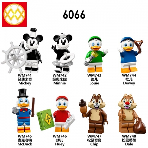 WM6066  Mickey Duck  Squirrel Battle Huey Chip Lovely animal Building Blocks toys for Children Donald Duck  Squirrel Battle WM6066