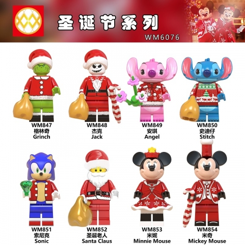 WM6076 Christmas Halloween Grinch Jack Stitch Sonic Santa Claus Mickey Minnie Building Blocks toys for Children
