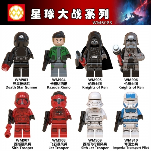 HOT IN SALE WM6083 Star wars The rise of Skywalker Knights of Ren Sith Jet Trooper Children Building Block Toys