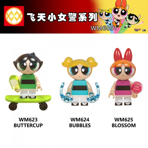 WM6051 Cartoon  The Powerpuff Girls Bubbles Blossom Buttercup Building Blocks toys for Children