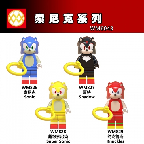 WM6043 Cartoon Sonic Knuckles Shadow Building Blocks toys for Children