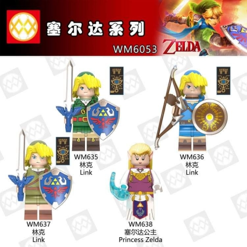 WM6053  Cartoon Zelda Link mini figures Building Blocks toys for Children